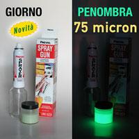 Kit Vernice Fosforescente (fotoluminescente) da 75 micron completo di Sistema di Verniciatura Spray